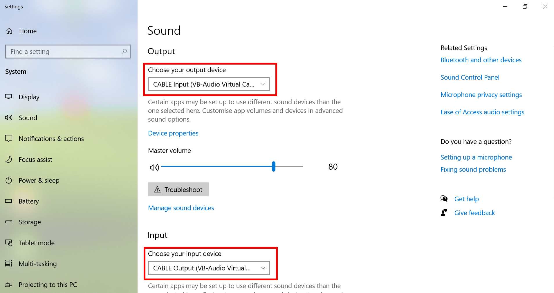 Windows 10: Sound settings