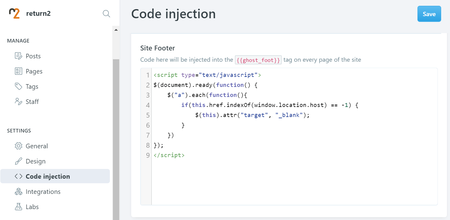 Code injection part in the Ghost backend section