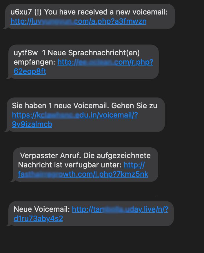 Bild von verschiedenen Spam SMS, die ich über die letzte Zeit erhalten habe